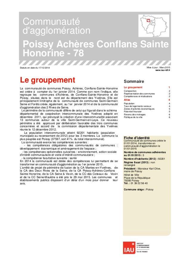 Communauté d'agglomération Poissy Achères Conflans Sainte Honorine - 78 Statuts en date du 17/12/2014 Mise à jour : Mars 2...