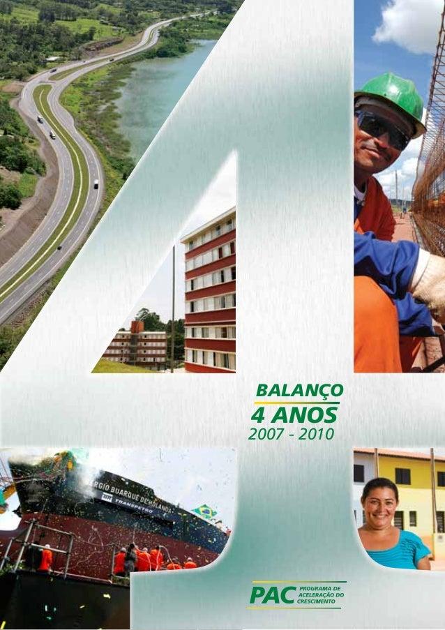 BALANÇO  4 ANOS  2007 - 2010