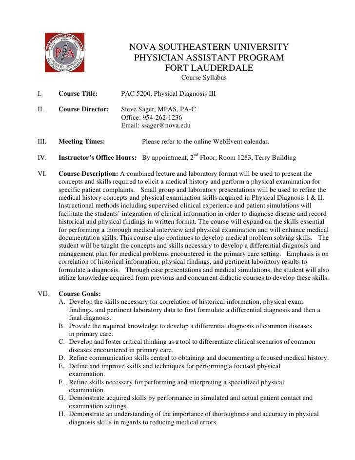 NOVA SOUTHEASTERN UNIVERSITY                                   PHYSICIAN ASSISTANT PROGRAM                                ...