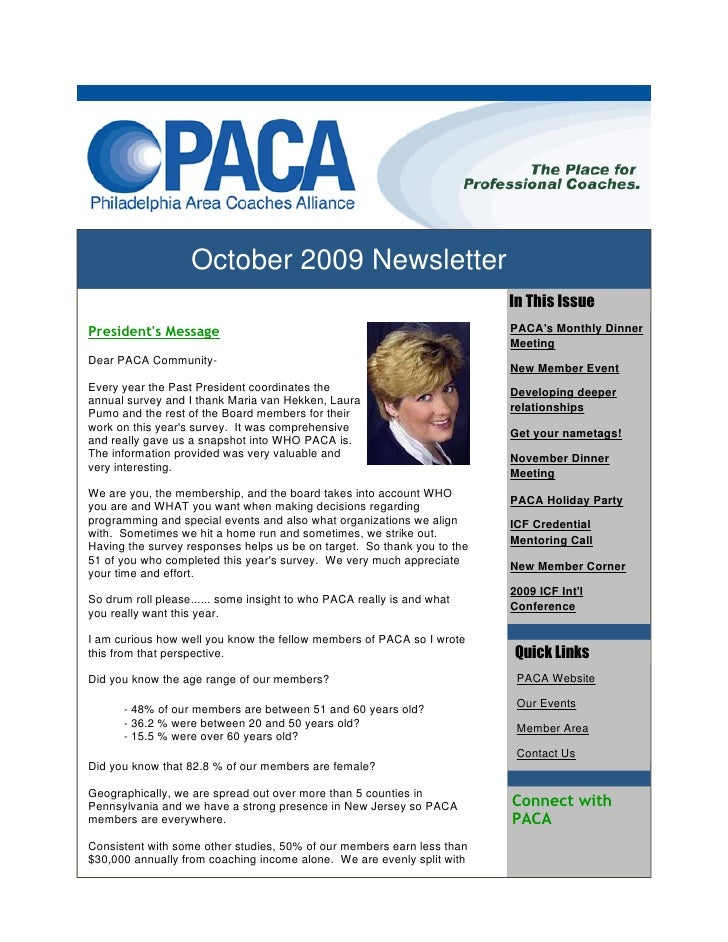 October 2009 Newsletter                                                                          In This Issue President's...