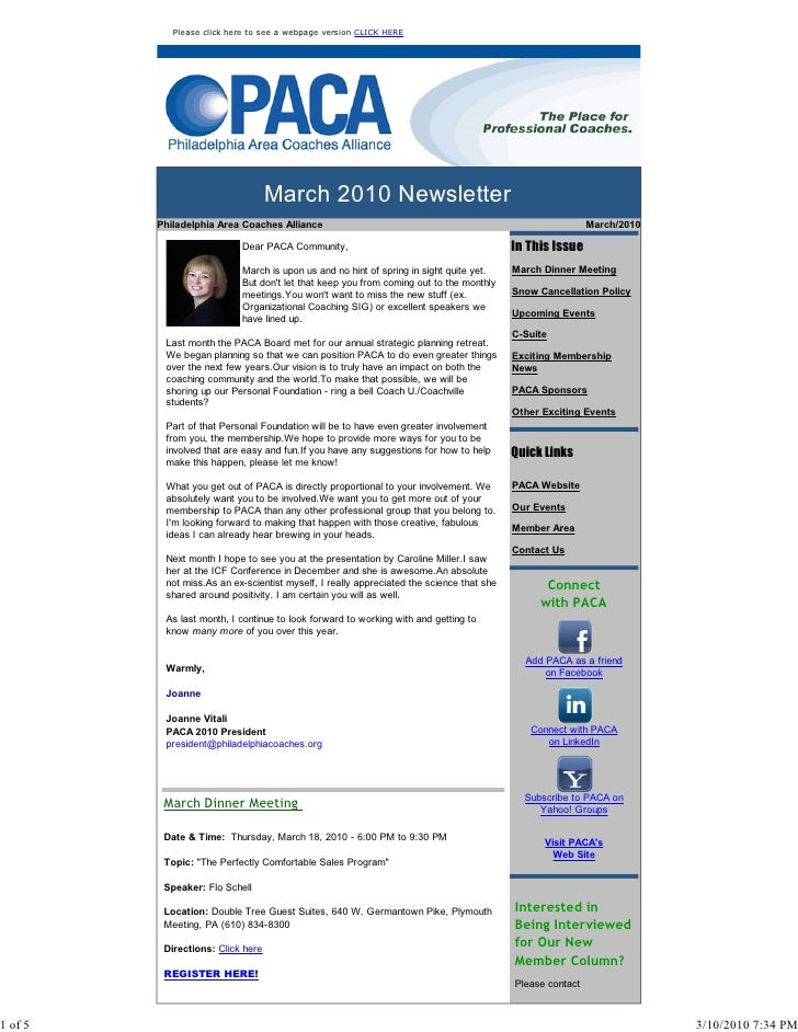 Please click here to see a webpage version CLICK HERE                                        March 2010 Newsletter        ...
