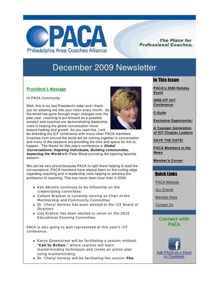 December 2009 Newsletter                                                                         In This Issue President's...