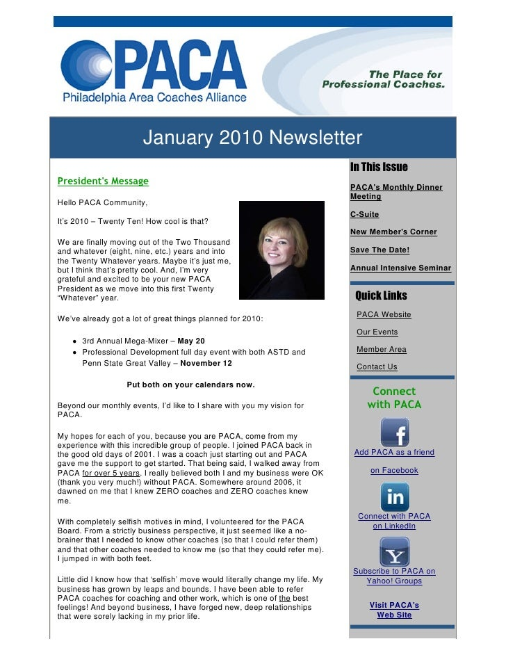 January 2010 Newsletter                                                                                In This Issue Presi...