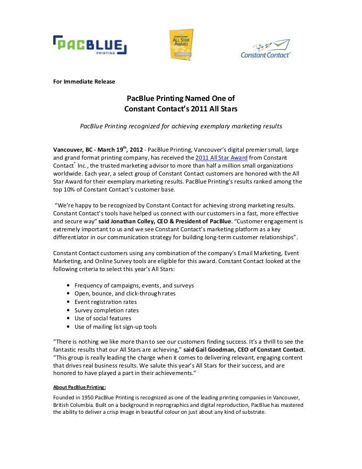 For Immediate Release                              PacBlue Printing Named One of                             Constant Cont...