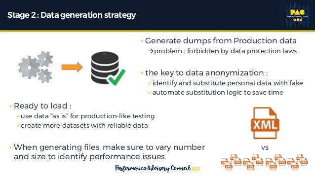 """Stage2 : Data generationstrategy • Ready to load : use data """"as is"""" for production-like testing create more datasets wit..."""