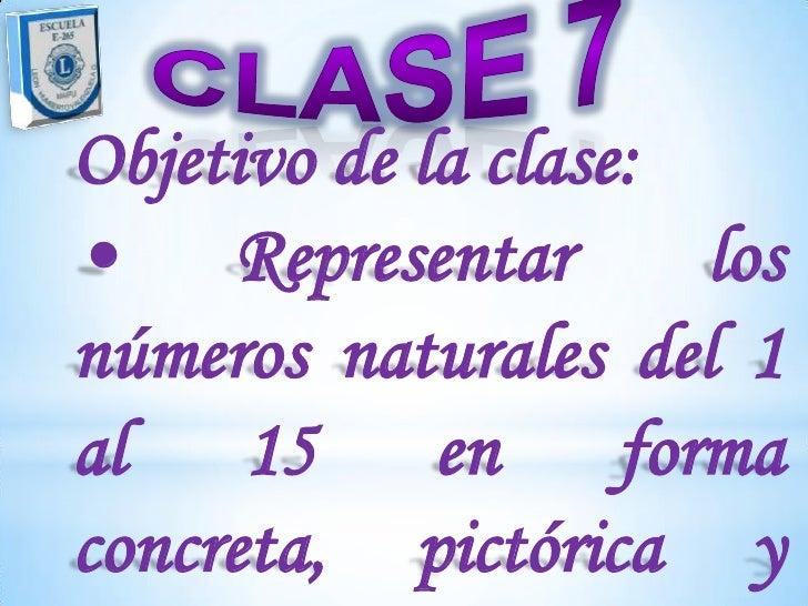 Objetivo de la clase:• Representar         losnúmeros naturales del 1al 15 en formaconcreta, pictórica y