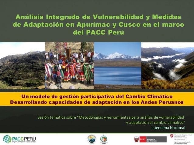 Análisis Integrado de Vulnerabilidad y Medidasde Adaptación en Apurímac y Cusco en el marco                 del PACC Perú ...