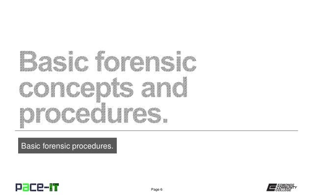 PACE-IT, Security+ 2.4: Basic Forensic Procedures