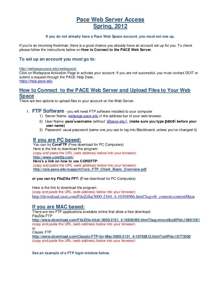 Pace Web Server Access                                        Spring, 2012                 If you do not already have a Pa...