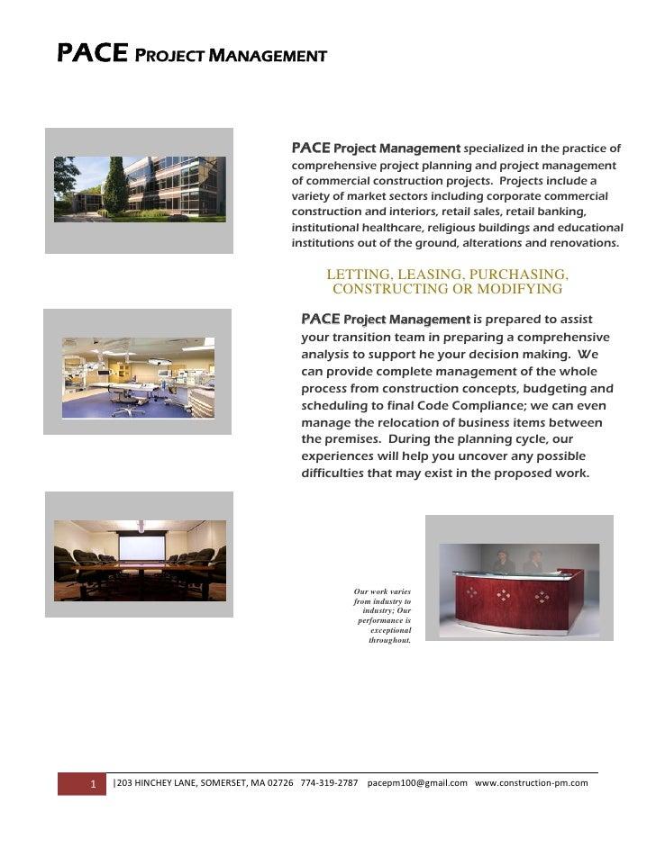 PACE PROJECT MANAGEMENT                                                              PACE Project Management specialized...