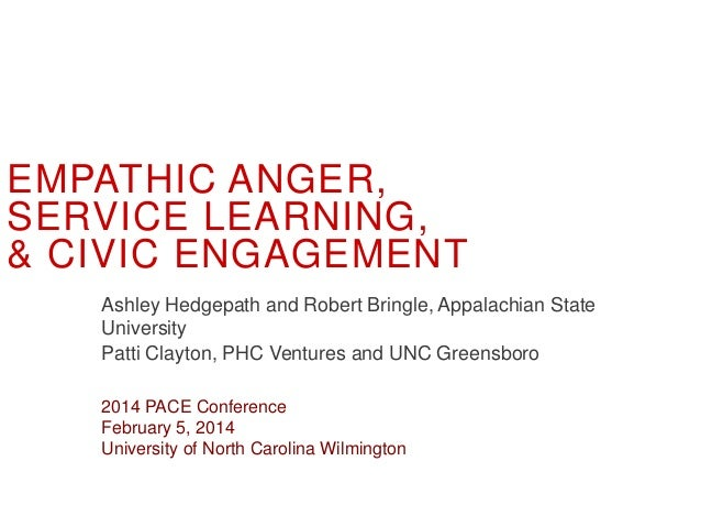 EMPATHIC ANGER, SERVICE LEARNING, & CIVIC ENGAGEMENT Ashley Hedgepath and Robert Bringle, Appalachian State University Pat...