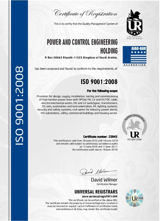 Pace Iso Certificate