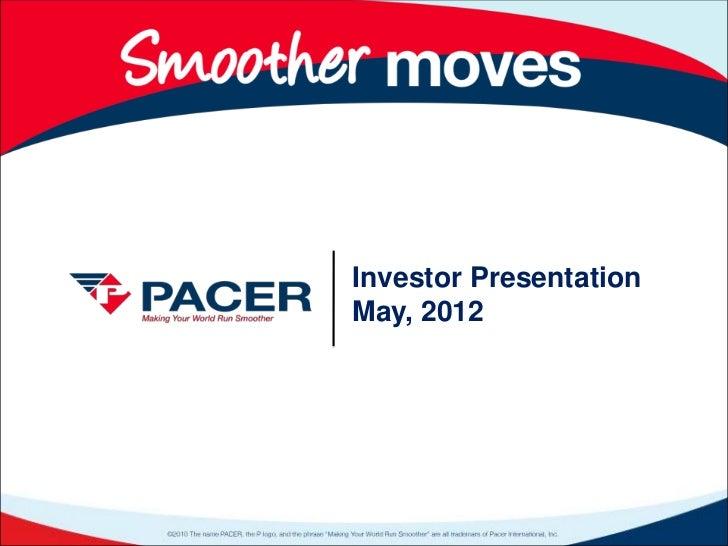 Investor PresentationMay, 2012