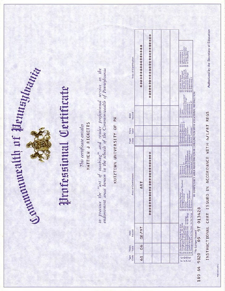 Pa Teaching Certificate