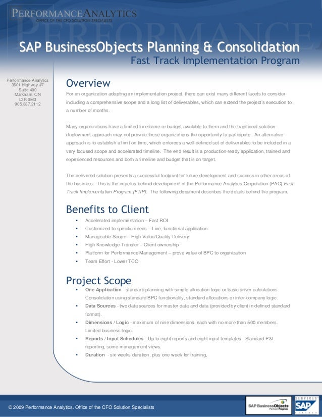 © 2009 Performance Analytics. Office of the CFO Solution Specialists Performance Analytics 3601 Highway #7 Suite 400 Markh...