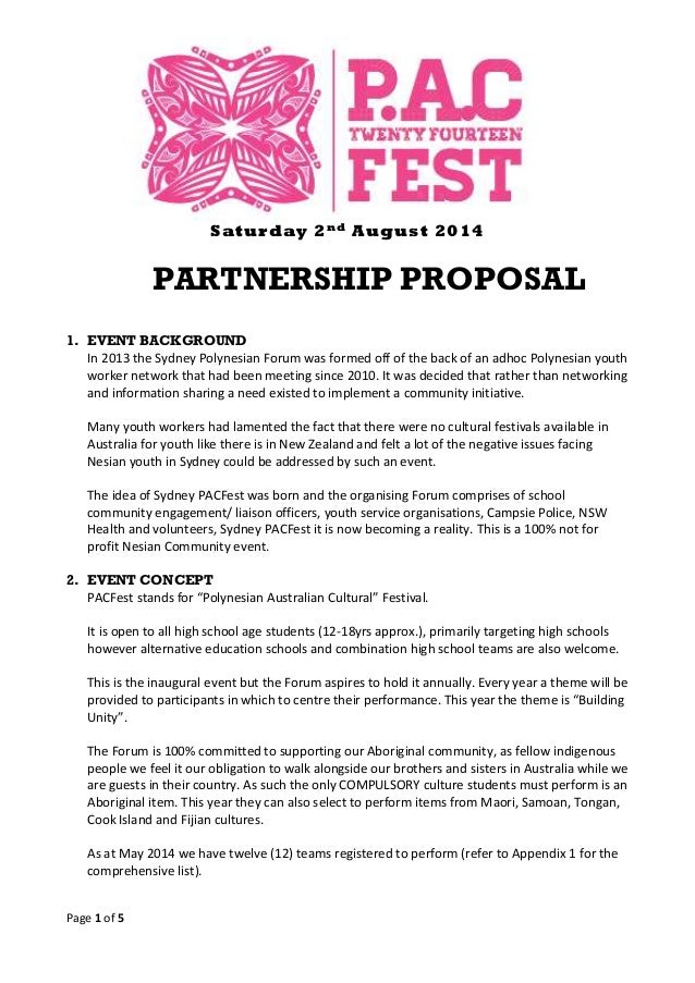 Page 1 Of 5 Saturday 2nd August 2014 PARTNERSHIP PROPOSAL 1. EVENT  BACKGROUND In 2013 ...