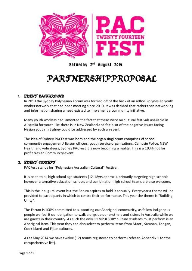 Page 1 of 5 Saturday 2nd August 2014 PARTNERSHIPPROPOSAL 1. EVENT BACKGROUND In 2013 the Sydney Polynesian Forum was forme...
