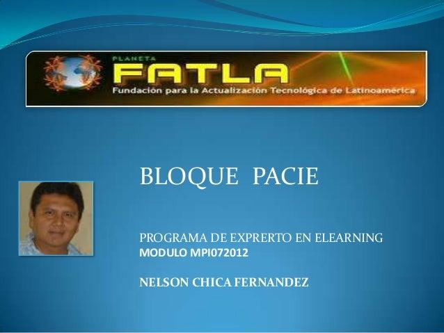 BLOQUE PACIEPROGRAMA DE EXPRERTO EN ELEARNINGMODULO MPI072012NELSON CHICA FERNANDEZ