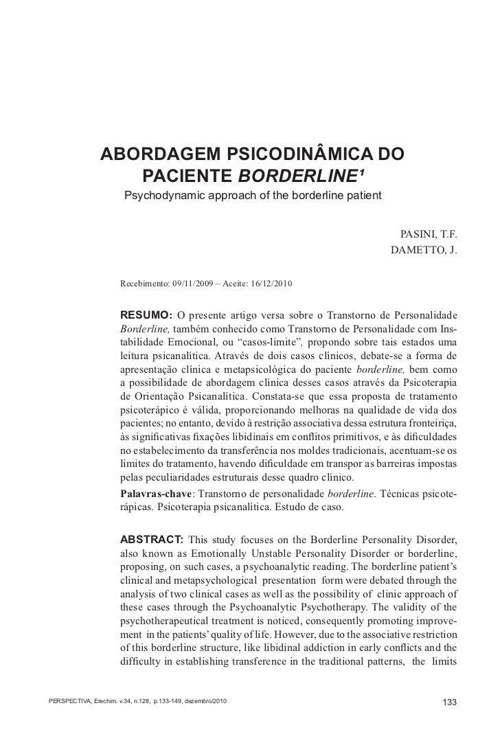 ABORDAGEM PSICODINÂMICA DO PACIENTE BORDERLINE                 ABORDAGEM PSICODINÂMICA DO                    PACIENTE BORD...