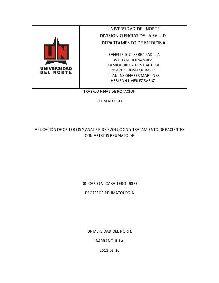 UNIVERSIDAD DEL NORTE                                DIVISION CIENCIAS DE LA SALUD                                 DEPARTA...