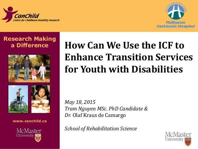 Research Making a Difference www.canchild.ca How Can We Use the ICF to Enhance Transition Services for Youth with Disabili...