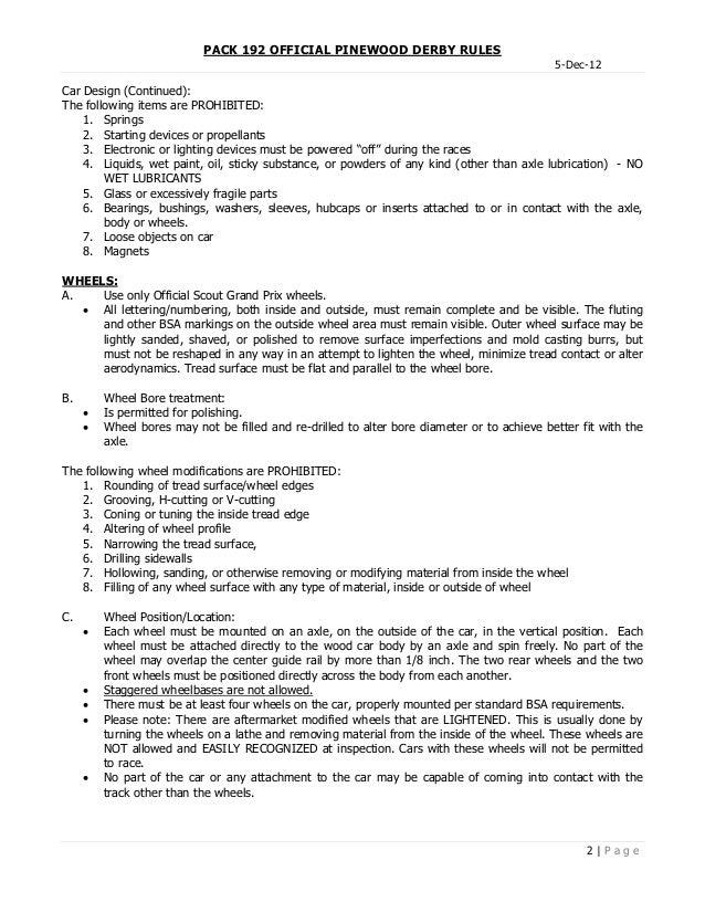 Pinewood Derby Rules ~ Pack pinewood derby rules