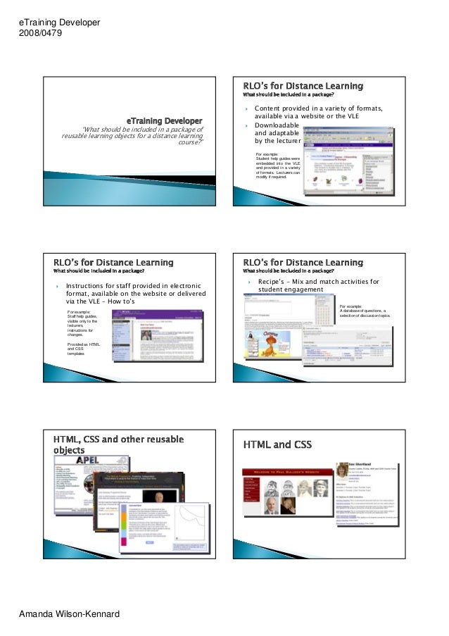 eTraining Developer2008/0479                                                             Content provided in a variety of ...