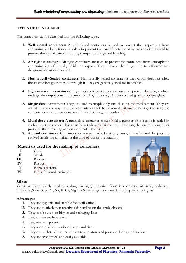Basic principles of compounding and dispensing:prescription
