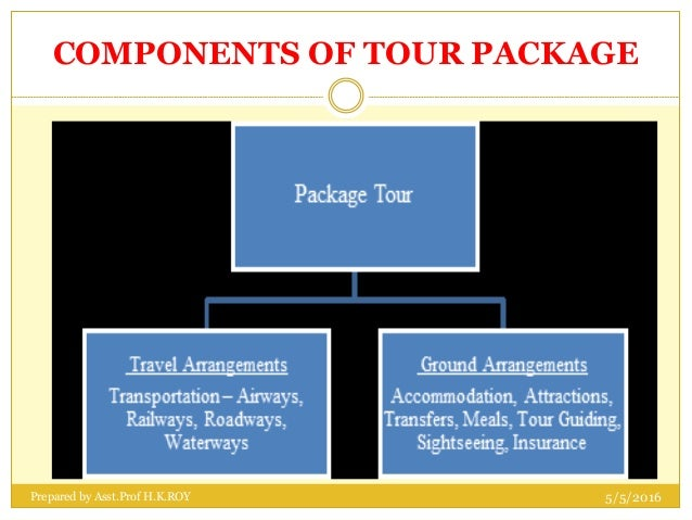 components of a tour package to Tour operator is a person or company who purchases the different items that make up an inclusive holiday in bulk, combines them together to produce package holiday.