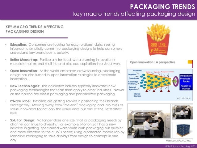 PACKAGING TRENDS key macro trends affecting packaging design • Education: Consumers are looking for easy-to-digest data; s...