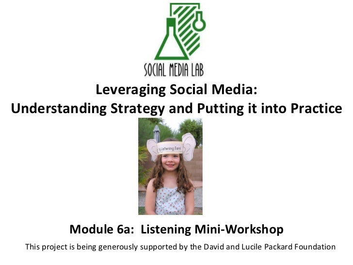 Leveraging Social Media: Understanding Strategy and Putting it into Practice Module 6a:  Listening Mini-Workshop This proj...