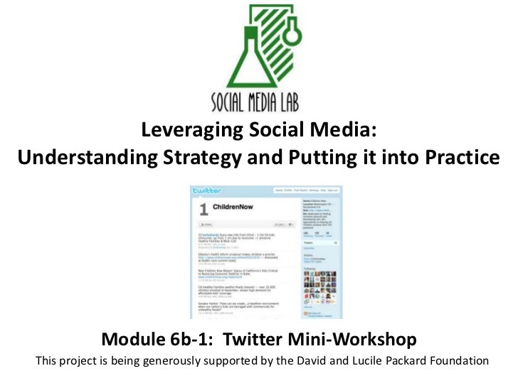 Leveraging Social Media:Understanding Strategy and Putting it into Practice<br />Module 6b-1:  Twitter Mini-Workshop<br />...