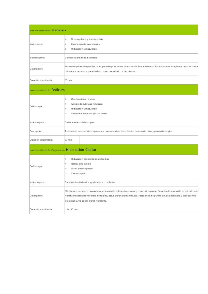 Nombre tratamiento: Manicura                               >     Desmaquillado y limado/pulidoQué incluye:                ...