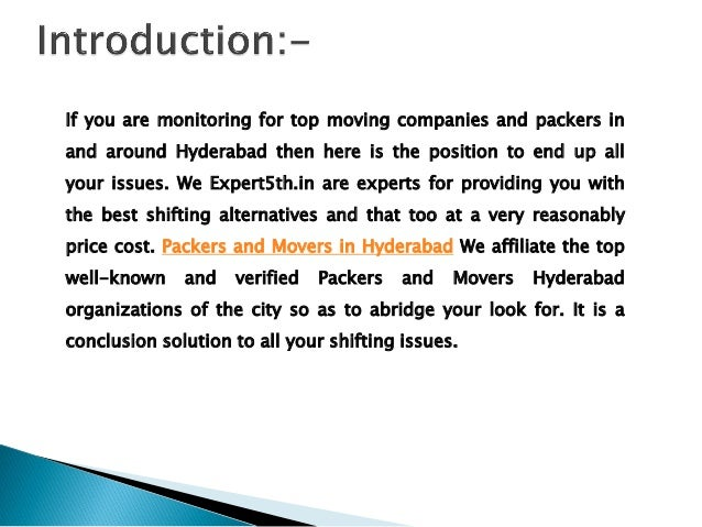 If you are monitoring for top moving companies and packers in and around Hyderabad then here is the position to end up all...