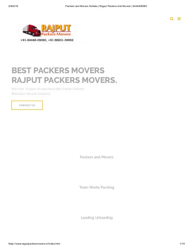 2/9/2019 Packers and Movers Kolkata | Rajput Packers And Movers | 8444809090 https://www.rajputpackersmovers.in/index.html...