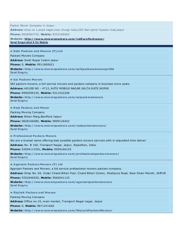 Packer Mover Company in Jaipur.Address: shop no 1,azad nagar,new chungi naka,200 feet ajmer bypass road,jaipurPhone: 98285...