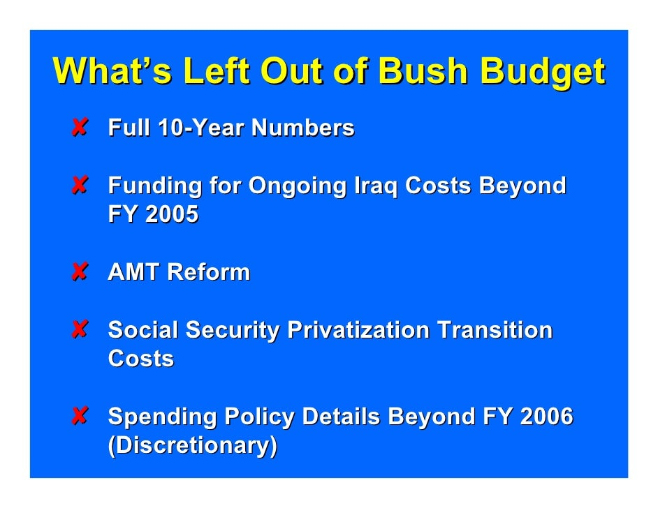 What's Left Out of Bush Budget Y Full 10-Year Numbers  Y Funding for Ongoing Iraq Costs Beyond    FY 2005  Y AMT Reform  Y...