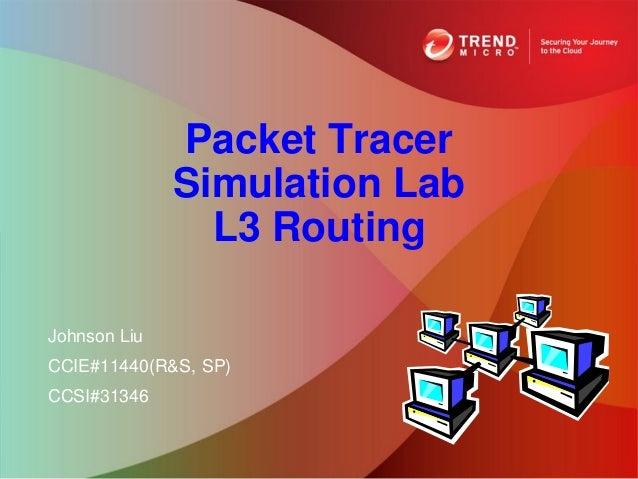 Packet Tracer              Simulation Lab                L3 RoutingJohnson LiuCCIE#11440(R&S, SP)CCSI#31346
