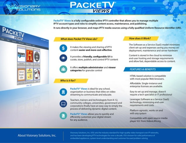 PackeTV® Views Education Specification Sheet