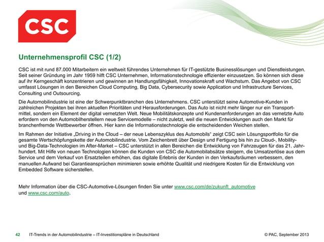 Unternehmensprofil CSC (1/2) CSC ist mit rund 87.000 Mitarbeitern ein weltweit führendes Unternehmen für IT-gestützte Busi...