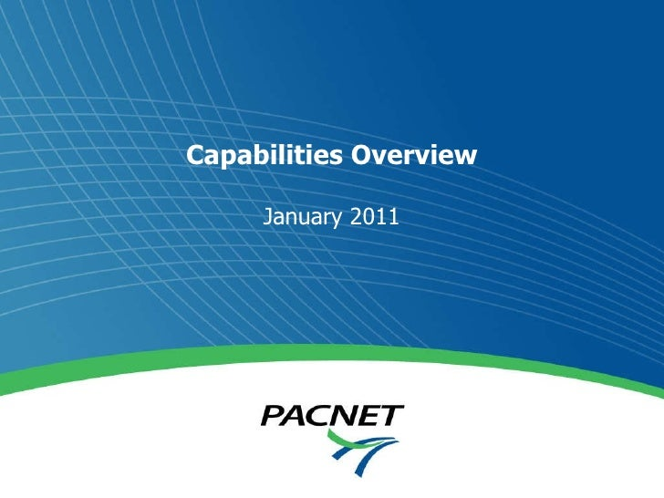 Capabilities Overview January 2011