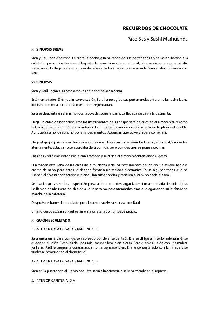 RECUERDOS DE CHOCOLATE                                                                 Paco Bas y Sushi Marhuenda>> SINOPS...