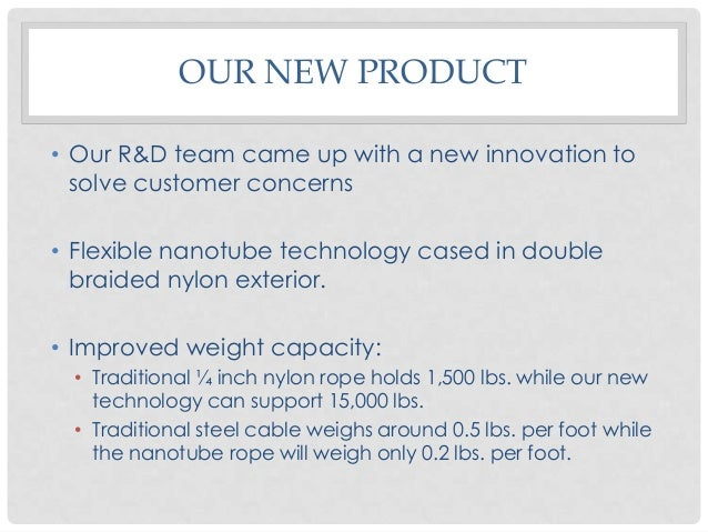 OUR NEW PRODUCT • Our R&D team came up with a new innovation to solve customer concerns • Flexible nanotube technology cas...