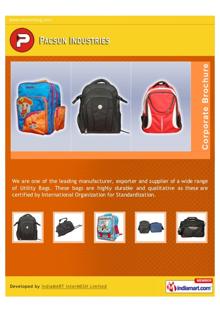 We are one of the leading manufacturer, exporter and supplier of a wide rangeof Utility Bags. These bags are highly durabl...
