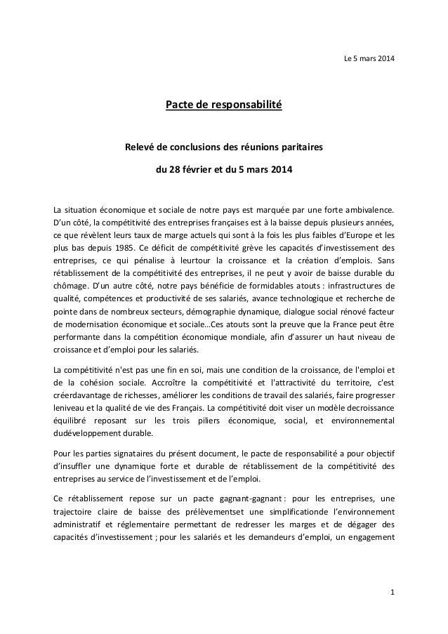 1 Le 5 mars 2014 Pacte de responsabilité Relevé de conclusions des réunions paritaires du 28 février et du 5 mars 2014 La ...