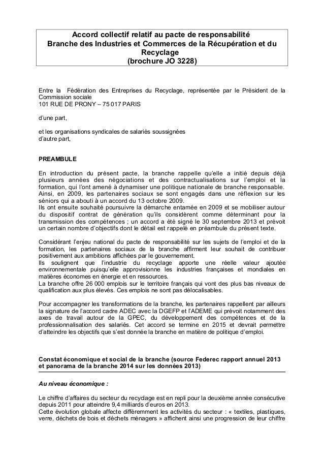 Accord collectif relatif au pacte de responsabilité Branche des Industries et Commerces de la Récupération et du Recyclage...