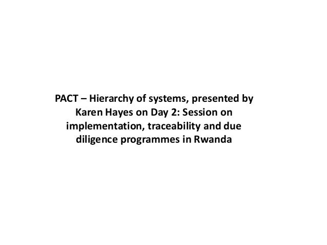 PACT – Hierarchy of systems, presented by Karen Hayes on Day 2: Session on implementation, traceability and due diligence ...
