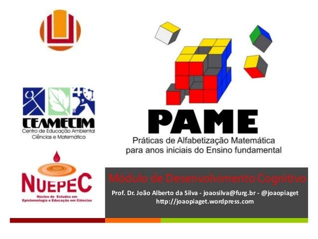 Módulo de Desenvolvimento Cognitivo Prof. Dr. João Alberto da Silva - joaosilva@furg.br - @joaopiaget http://joaopiaget.wo...