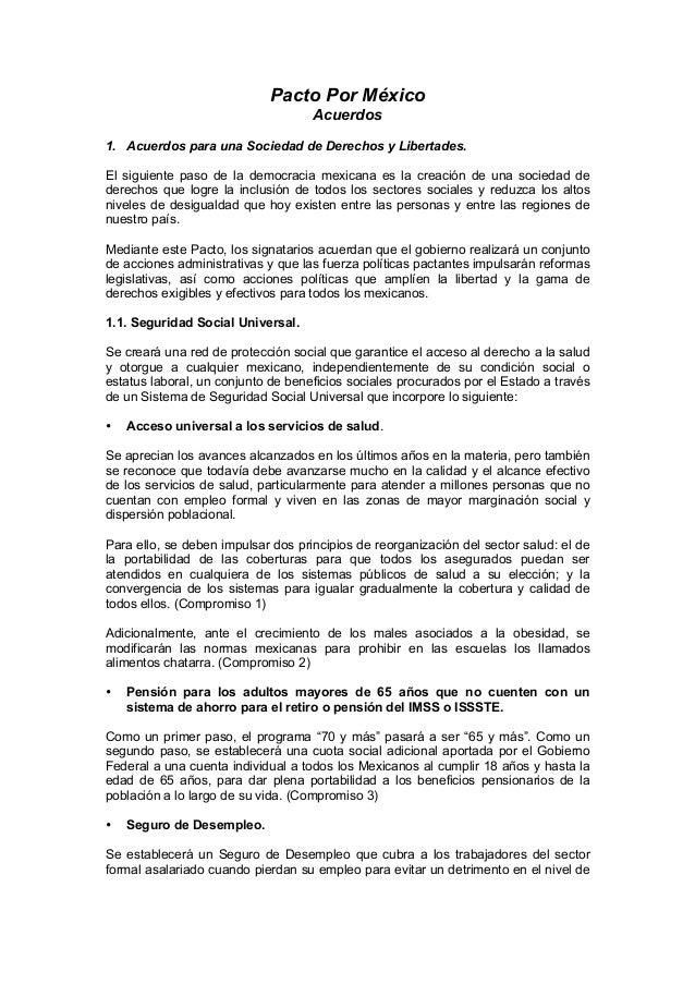 Pacto Por México Acuerdos 1. Acuerdos para una Sociedad de Derechos y Libertades. El siguiente paso de la democracia mexic...