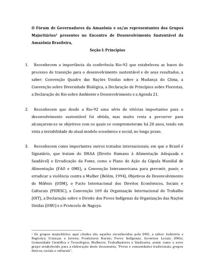 O  Fórum  de  Governadores  da  Amazônia  e  os/as  representantes  dos  Grupos             Majoritá...